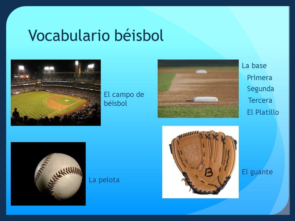 Vocabulario béisbol La base Primera Segunda El campo de béisbol