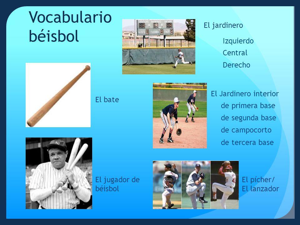 Vocabulario béisbol El jardinero Izquierdo Central Derecho