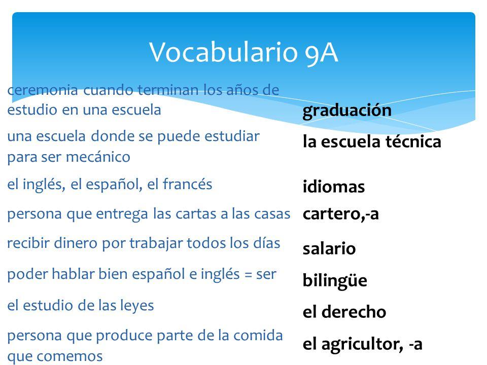 Vocabulario 9A graduación la escuela técnica idiomas cartero,-a