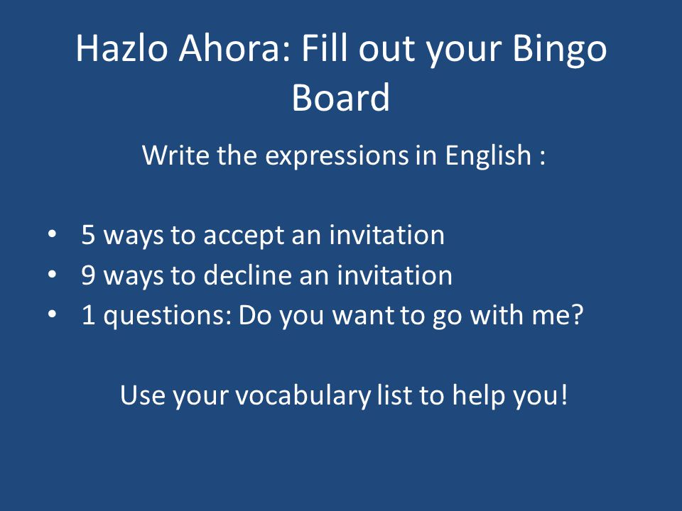 Hazlo Ahora: Fill out your Bingo Board