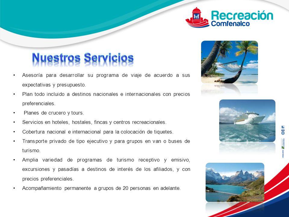 Nuestros Servicios Asesoría para desarrollar su programa de viaje de acuerdo a sus expectativas y presupuesto.