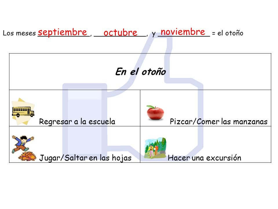 En el otoño septiembre octubre noviembre Regresar a la escuela