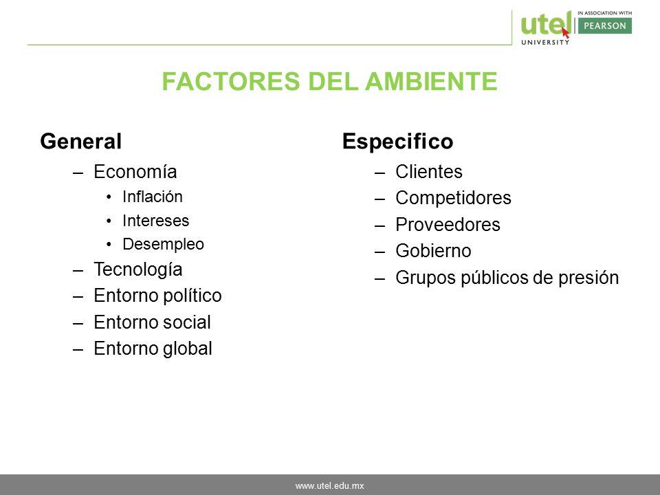 FACTORES DEL AMBIENTE General Especifico Economía Tecnología