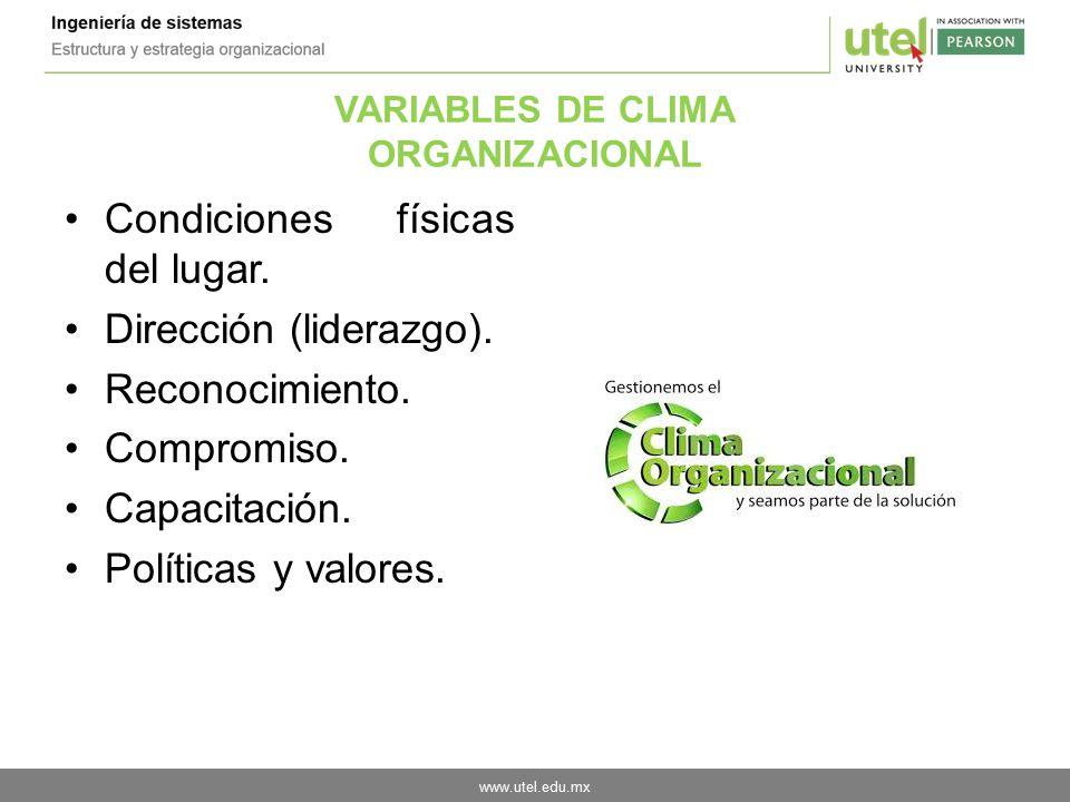 VARIABLES DE CLIMA ORGANIZACIONAL