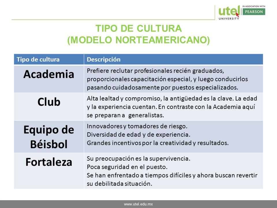 TIPO DE CULTURA (MODELO NORTEAMERICANO)