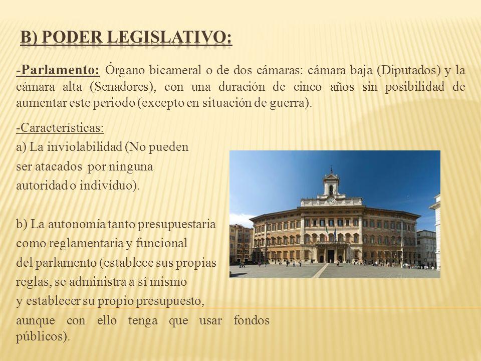 B) Poder legislativo: