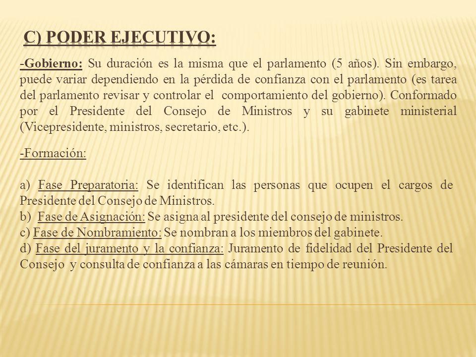 c) Poder Ejecutivo: