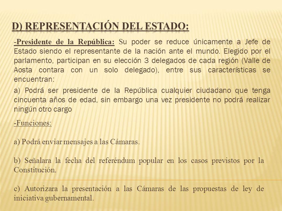 d) REPRESENTACIÓN DEL ESTADO: