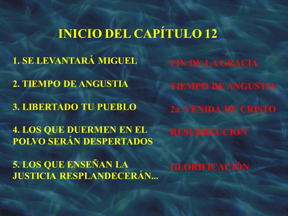 INICIO DEL CAPÍTULO 12 1. SE LEVANTARÁ MIGUEL FIN DE LA GRACIA
