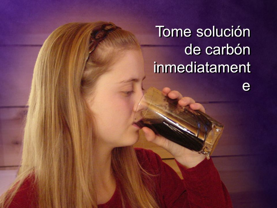 Tome solución de carbón inmediatamente