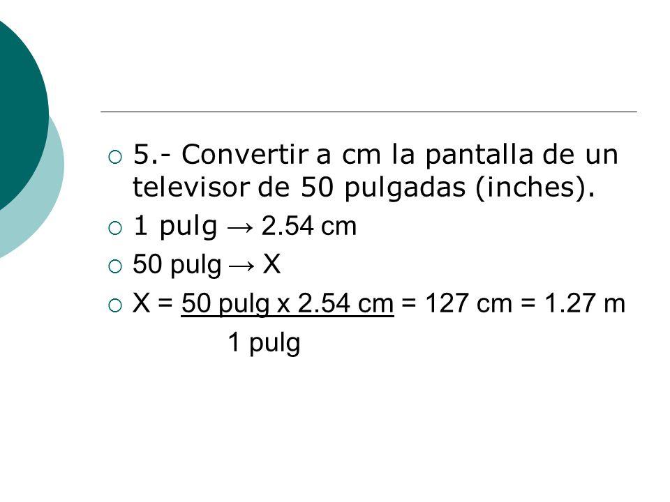 5.- Convertir a cm la pantalla de un televisor de 50 pulgadas (inches).