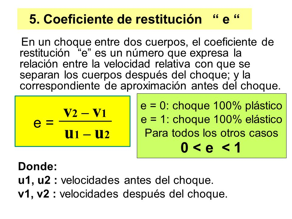 5. Coeficiente de restitución e