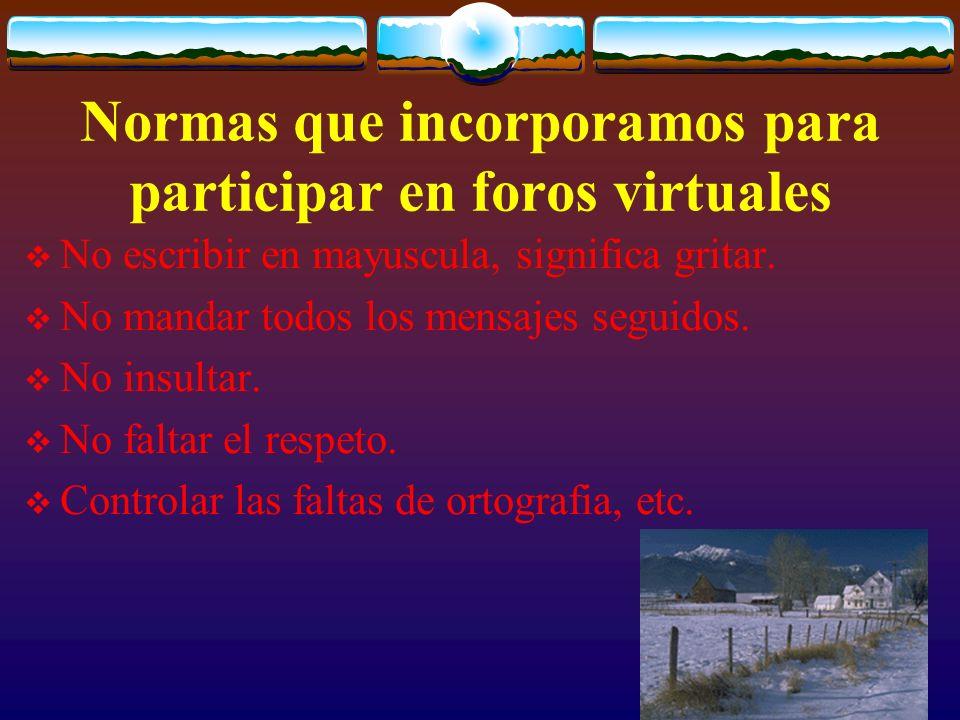Normas que incorporamos para participar en foros virtuales