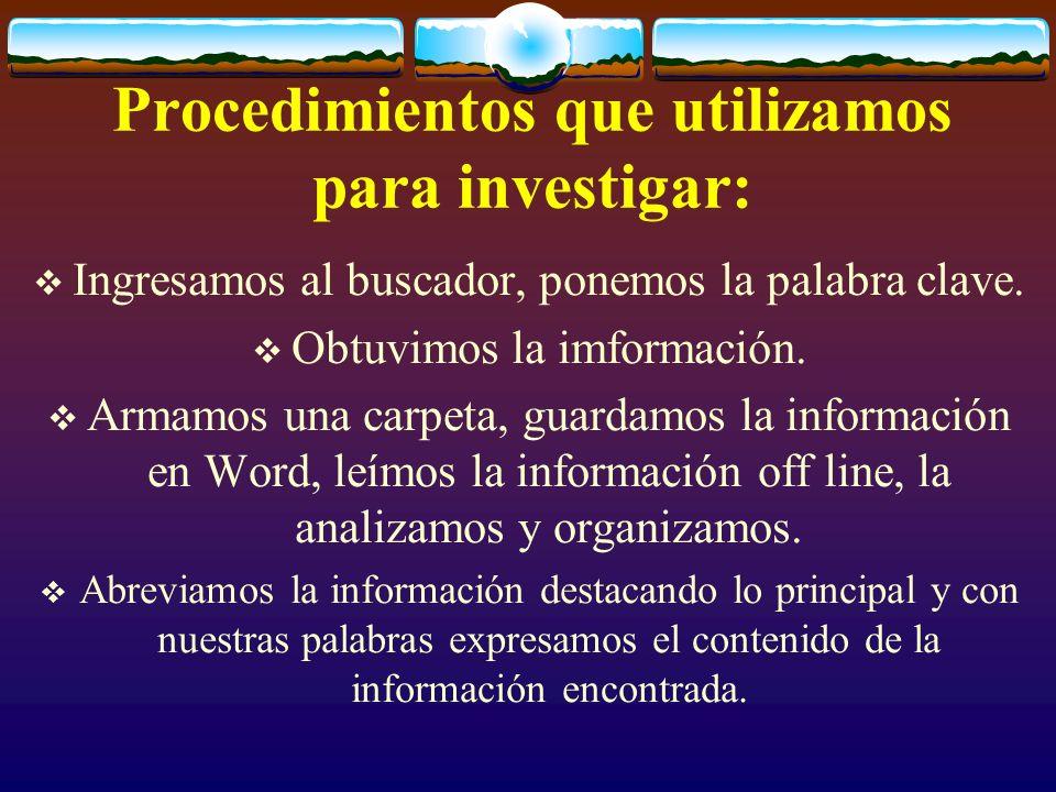 Procedimientos que utilizamos para investigar: