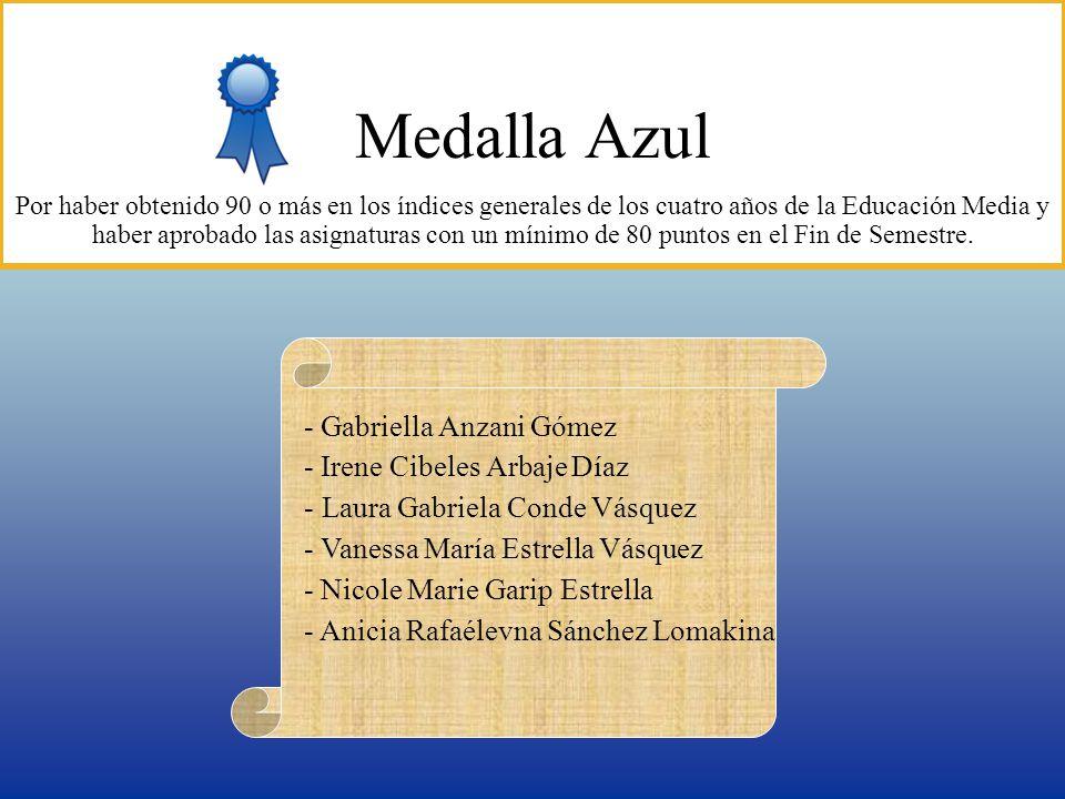 Medalla Azul - Gabriella Anzani Gómez - Irene Cibeles Arbaje Díaz