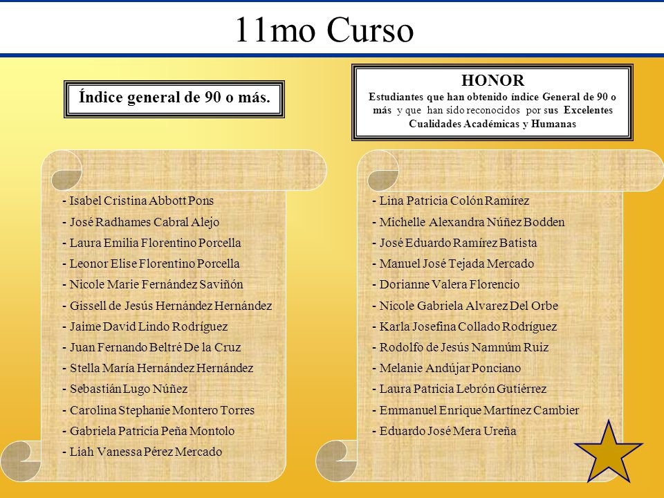 11mo Curso HONOR Índice general de 90 o más.