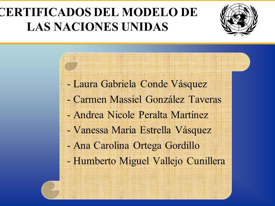 CERTIFICADOS DEL MODELO DE LAS NACIONES UNIDAS