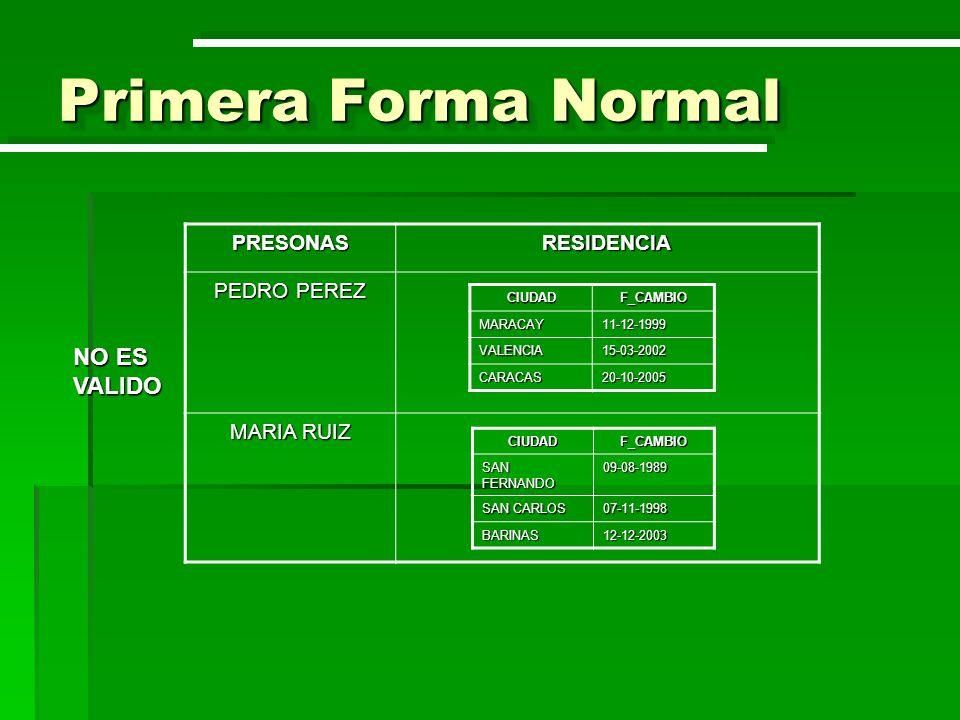 Primera Forma Normal NO ES VALIDO PRESONAS RESIDENCIA PEDRO PEREZ