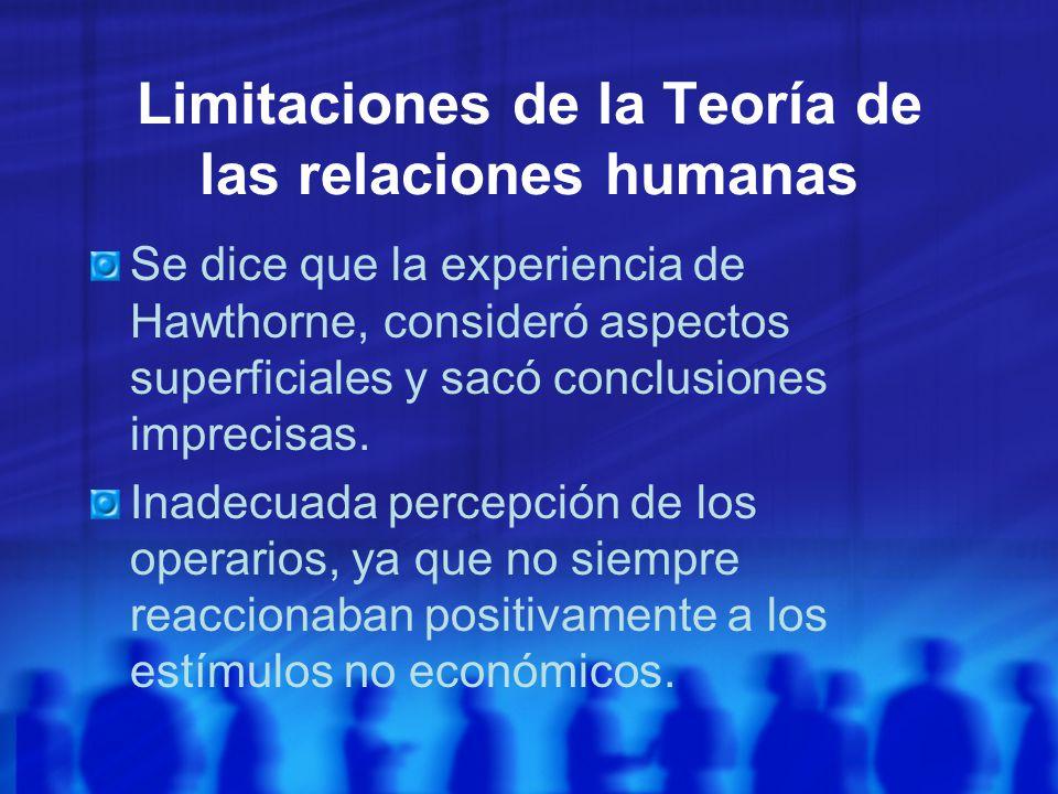 Limitaciones de la Teoría de las relaciones humanas