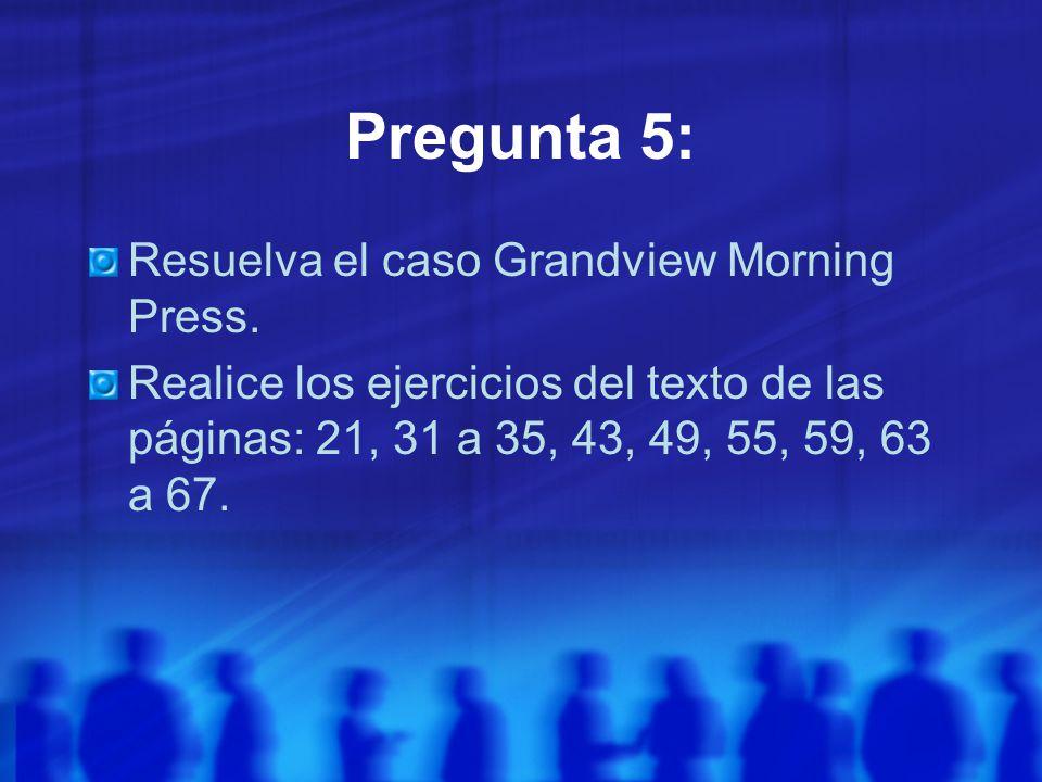 Pregunta 5: Resuelva el caso Grandview Morning Press.