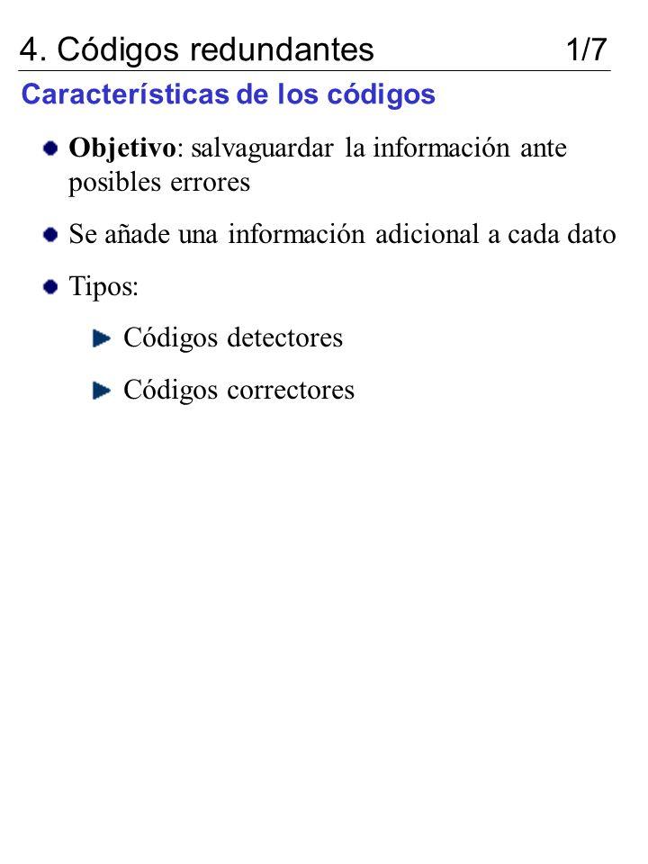 4. Códigos redundantes 1/7 Características de los códigos