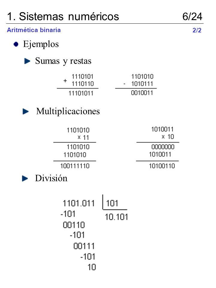 1. Sistemas numéricos 6/24 Ejemplos Sumas y restas Multiplicaciones