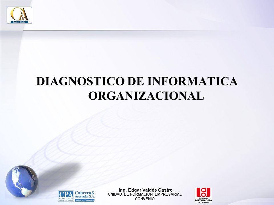 DIAGNOSTICO DE INFORMATICA ORGANIZACIONAL Ing. Edgar Valdés Castro