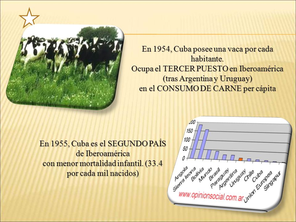 En 1954, Cuba posee una vaca por cada habitante.