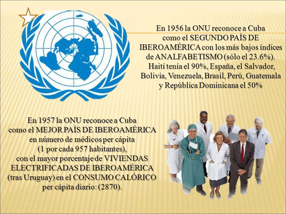 En 1956 la ONU reconoce a Cuba