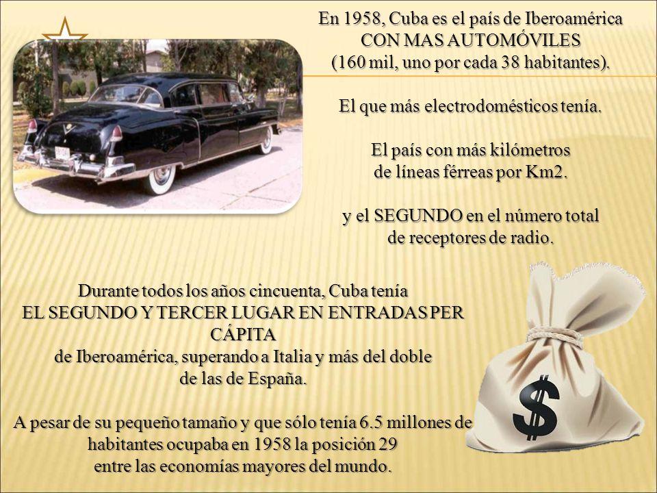 En 1958, Cuba es el país de Iberoamérica CON MAS AUTOMÓVILES