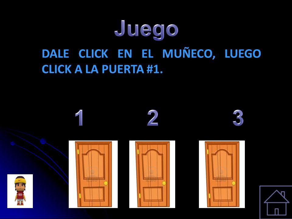 Juego DALE CLICK EN EL MUÑECO, LUEGO CLICK A LA PUERTA #1. 1 2 3
