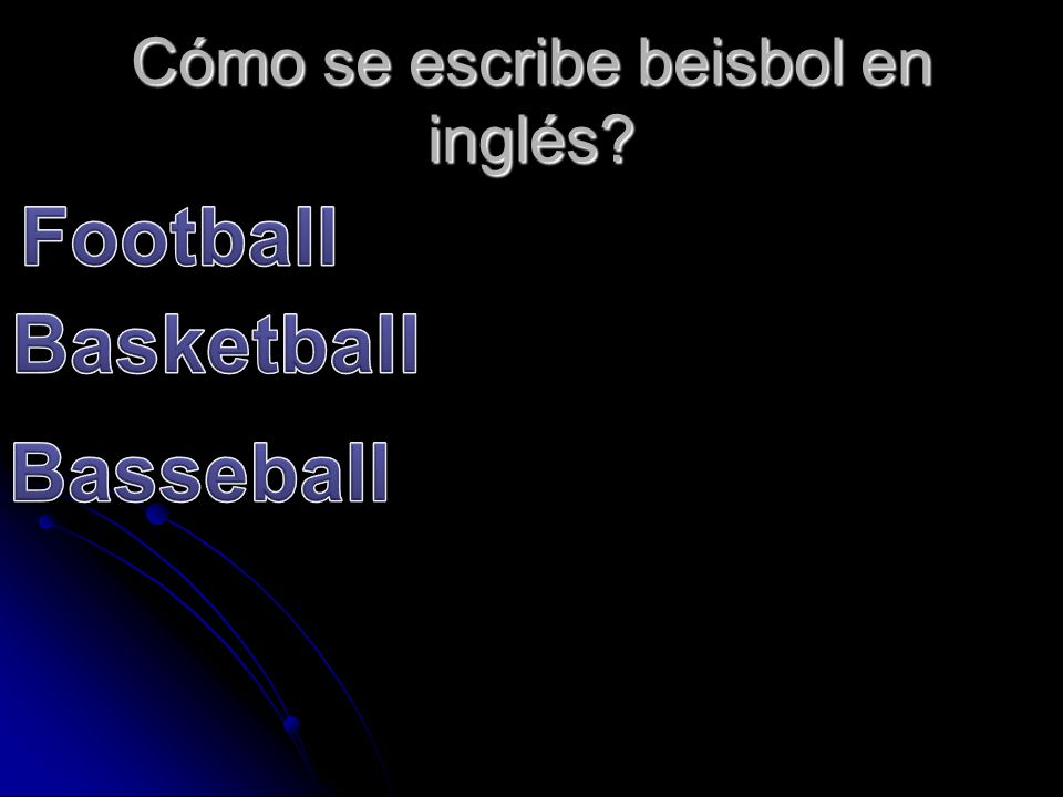 Cómo se escribe beisbol en inglés