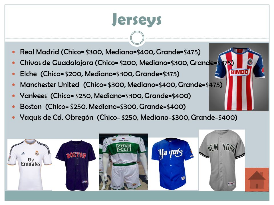 Jerseys Real Madrid (Chico= $300, Mediano=$400, Grande=$475)