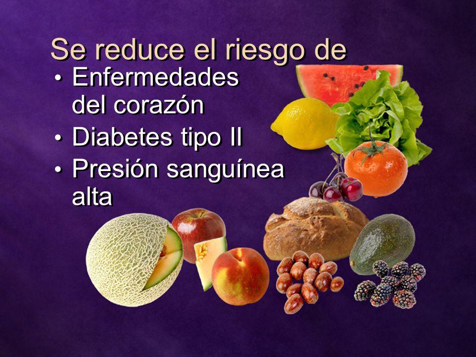 Se reduce el riesgo de Enfermedades del corazón Diabetes tipo II