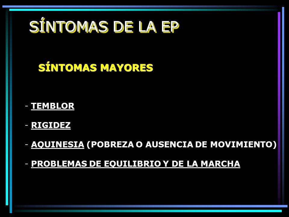 SÍNTOMAS DE LA EP SÍNTOMAS MAYORES TEMBLOR RIGIDEZ