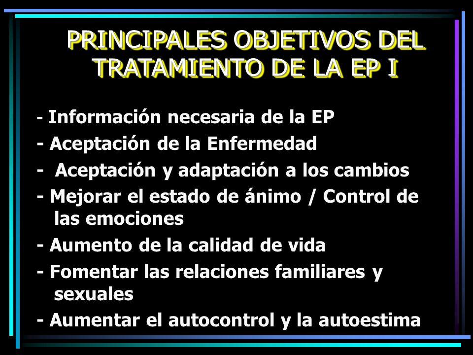 PRINCIPALES OBJETIVOS DEL TRATAMIENTO DE LA EP I