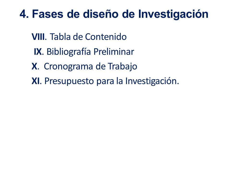 4. Fases de diseño de Investigación
