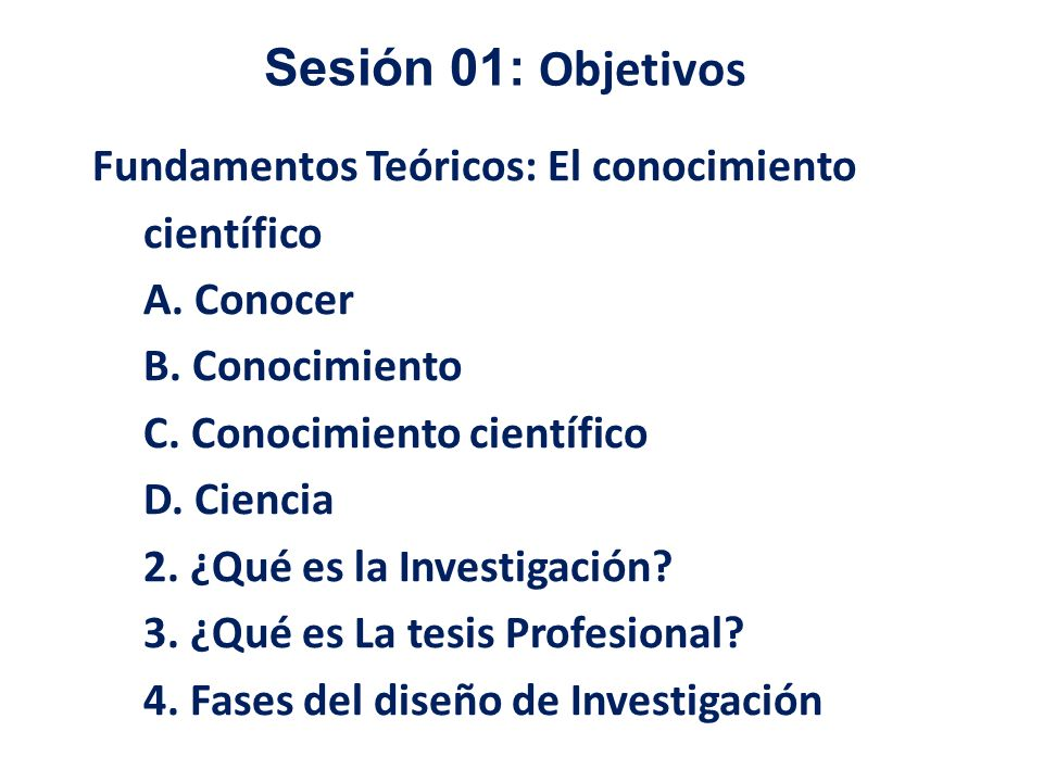 Sesión 01: Objetivos