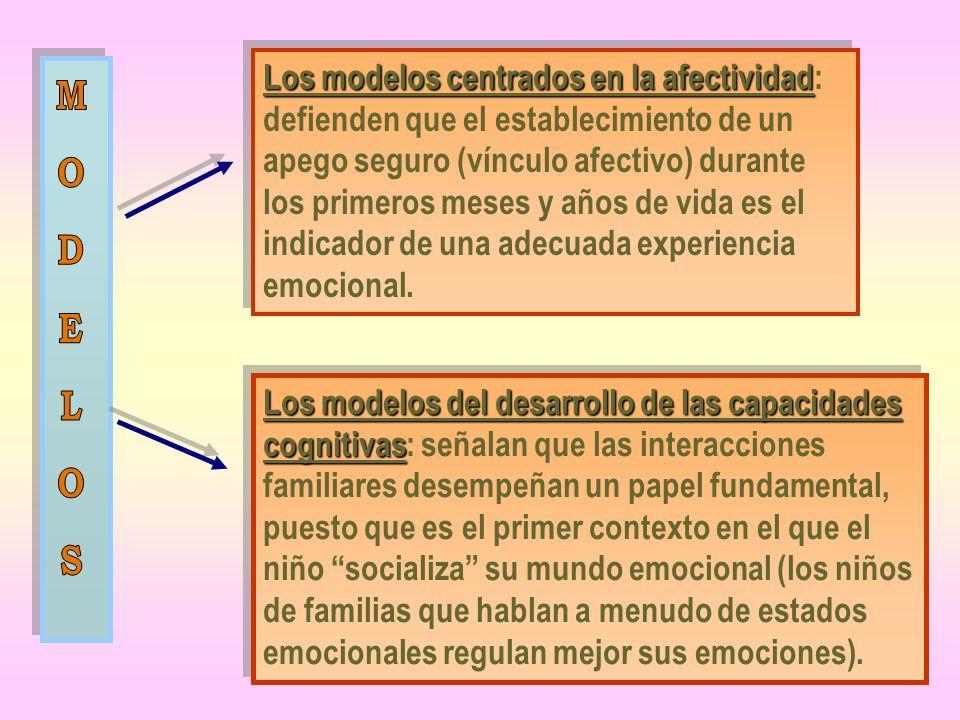 Los modelos centrados en la afectividad: defienden que el establecimiento de un apego seguro (vínculo afectivo) durante los primeros meses y años de vida es el indicador de una adecuada experiencia emocional.