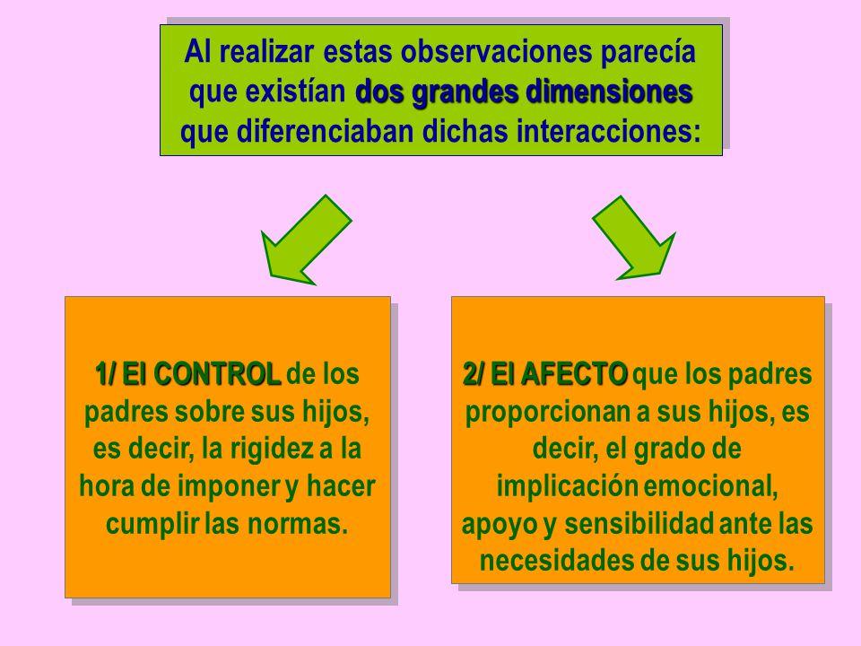 Al realizar estas observaciones parecía que existían dos grandes dimensiones que diferenciaban dichas interacciones: