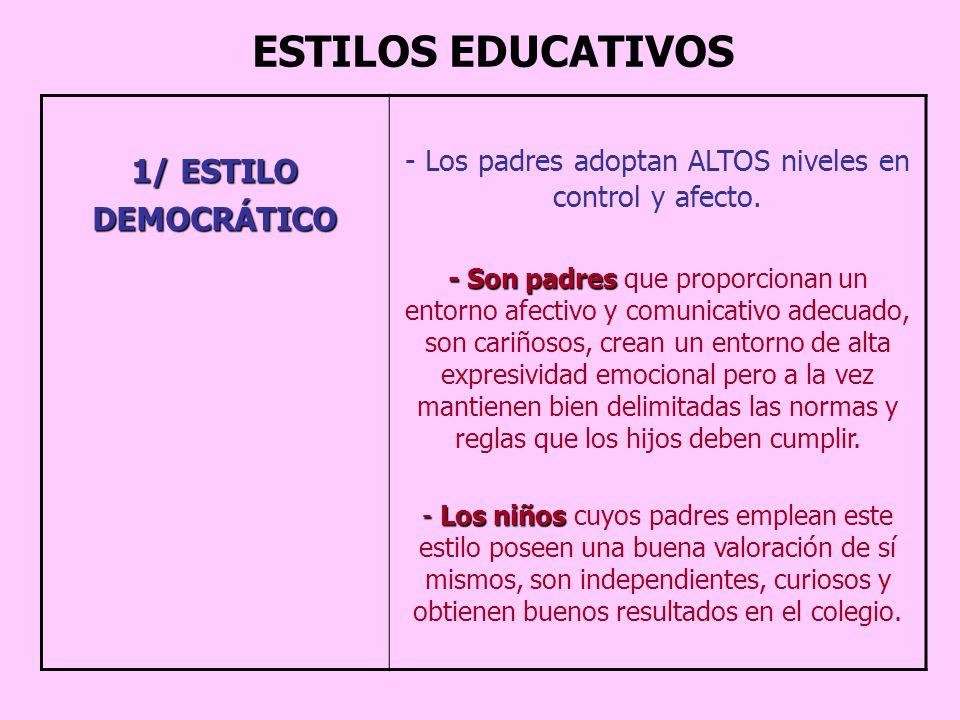Los padres adoptan ALTOS niveles en control y afecto.