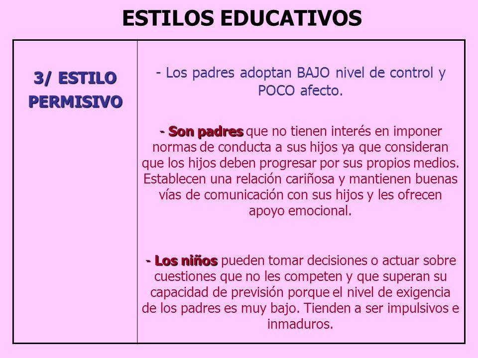 Los padres adoptan BAJO nivel de control y POCO afecto.