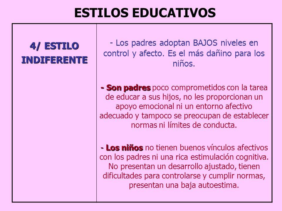 ESTILOS EDUCATIVOS 4/ ESTILO INDIFERENTE