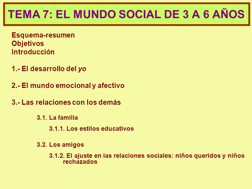TEMA 7: EL MUNDO SOCIAL DE 3 A 6 AÑOS