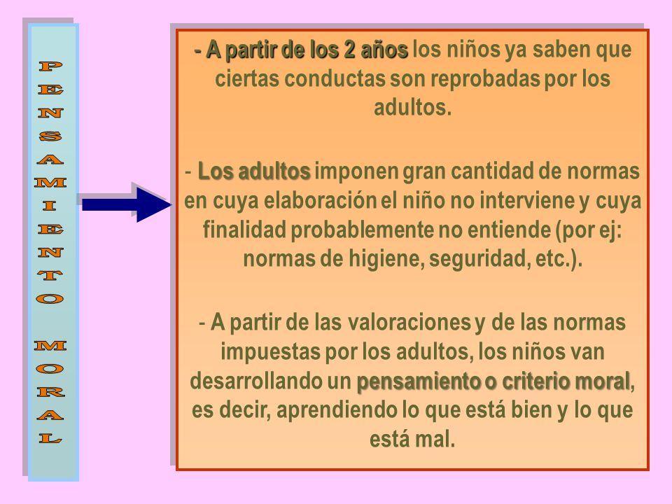 A partir de los 2 años los niños ya saben que ciertas conductas son reprobadas por los adultos.