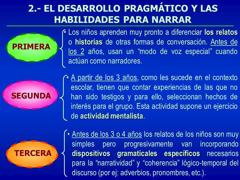 2.- EL DESARROLLO PRAGMÁTICO Y LAS HABILIDADES PARA NARRAR