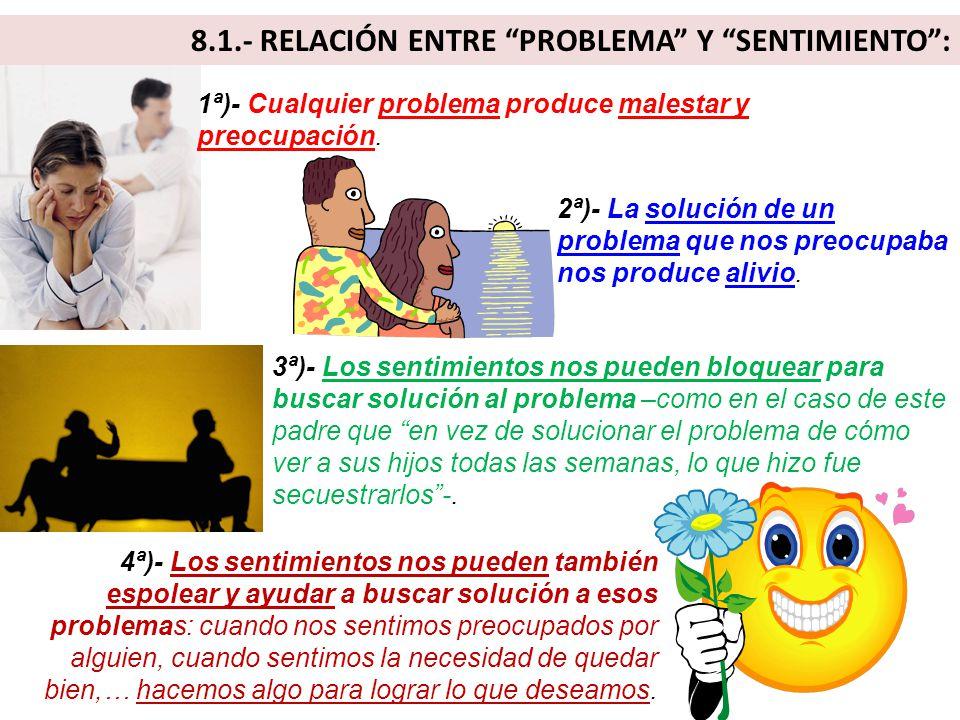 8.1.- RELACIÓN ENTRE PROBLEMA Y SENTIMIENTO :