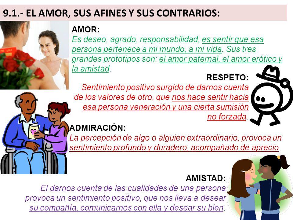 9.1.- EL AMOR, SUS AFINES Y SUS CONTRARIOS: