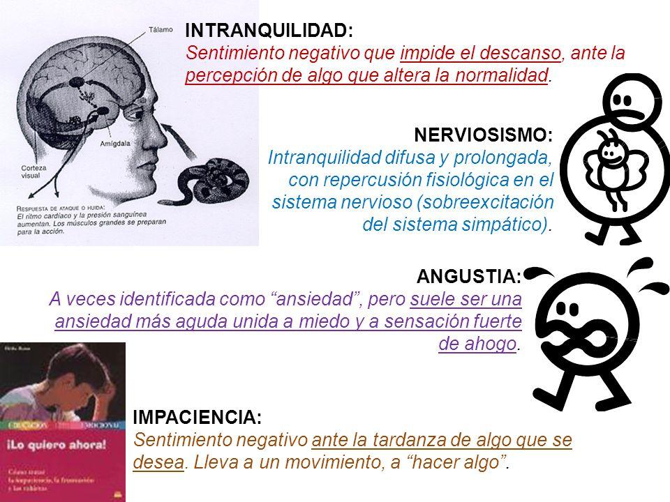INTRANQUILIDAD: Sentimiento negativo que impide el descanso, ante la percepción de algo que altera la normalidad.