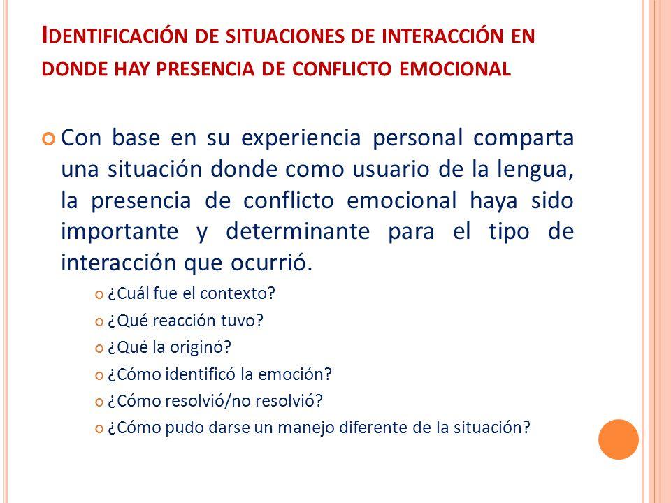 Identificación de situaciones de interacción en donde hay presencia de conflicto emocional